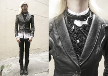 Andre Judd - Vintage Black Structured Leather Jacket, Ac For Fh Baroque Embroidered Bib, Ac For Fh Black Braided Belt Worn As Necklace, Dr. Martens Tartan Lined Bondage Strapped, Protacio Empaces Jr. Narrow Collar Button Down - Black Chocolate Decadence