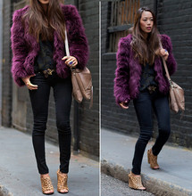 Aimee Song - Asos Purple Fur Jacket, Leopard Wedges, Botkier Haven Satchel - Purple Fur