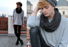 Ramon Miron - Gray Cotton, Old Silver Cross Necklace, H&M Skinny - Close your eyes.