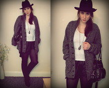 Ines J - H&M Hat, Boyfriend Cardigan, River Island Shorts, H&M Bag, New Look Overknees - Like a hobo.
