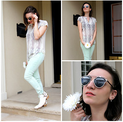 Raquel J - Christian Dior So Real Sunglasses, Aritzia Silk Top, Guess? Mint Jeans, Jeffrey Campbell Cut Off Boots - A New Season
