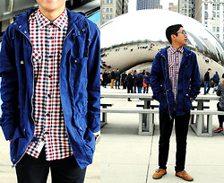 Brian R. - H&M Flannel Shirt, Topman Navy Blue Trek Jacket, Vans Suede Brown Shoes - The Windy City