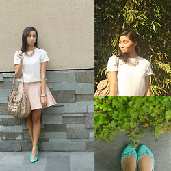 Tia Lacson - Prada Bag, Parisian Flats, Thrifted Pink Leather Skirt - PINK LEATHER