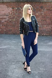Charlotte Lewis - She Likes Navy Jumpsuit, Another8 Leather Jacket, Kurt Geiger Strappy Sandals - The Navy Jumpsuit