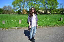 Layla D - Marks And Spencer Cardigan, Primark T Shirt, H&M, River Island Boots, Folli Follie Ring - Outfit - Purple Cardigan