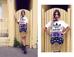 Liv Rahmé - Adidas Logo Tee, Evil Twin 'In The Mix' Tube Skirt, Jeffrey Campbell Mulder Boots - Print Clash