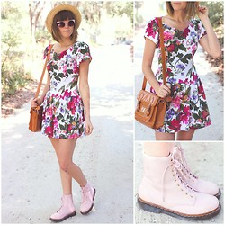 Steffy Degreff - Tea And Tulips Dress, Forever 21 Pink Boots - Vintage florals + pink boots ☼☼