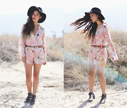 Judy L - Lulus Playsuit, Vintage Belt, Forever 21 Concho Hat - Fire Rides