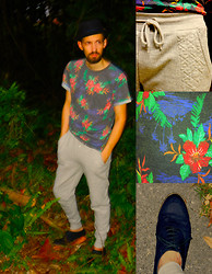 David Rodriguez - H&M Tropical Floral Print Tee, H&M Quilted Detail Sweat Pants, H&M Blue Suede Oxfords - WELCOME TO THE JUNGLE