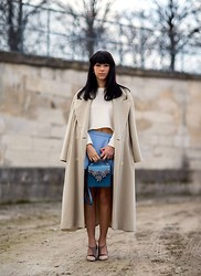 Daria Cimoroni - Max Mara Coat, Zara Crop Sweater, Zara Baby Blue Skirt, Greymer Sandals, Melis Yildiz Bag - A Moment in Paris by Kamel Lahmadi