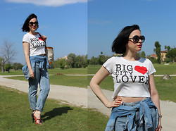 Elisa Cesarini - Pull & Bear Crop Top, Bershka Jeans, Moschino Sandals, Louis Vuitton Bag, Pollini Sunglasses, H&M Jacket - Big city lover
