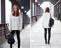 Mona K - Monki Sweater, H&M Backpack, Witty Knitters Leather Pants, Vagabond Boots - Leather Backpack