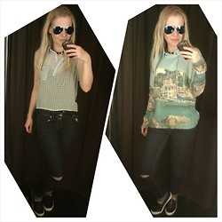Gabriella B - Pull & Bear Pastel Blue Gingham Shirt, Pull & Bear Landscape Sweater, New Look Studded Cuff, Pull & Bear Ripped Skinny Jeans, Topshop Contrast Croc Skaters - Nevermind