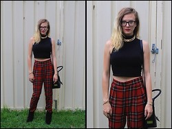 Emi B - Boohoo Black Crop Top, Karmaloop Tartan Pants, Nine West Boots, Valentino Bag - TARTAN THE F*** UP!