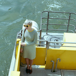 Kathryn Bagley - Vintage Skirt And Shoes, Joe's Jeans Joes Fresh Sweater, Ebay Sunglasses - Ferry ride
