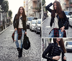 Katerina Kraynova - Bodaskins Jacket, Sheinside Shirt - Checked & Studded #2