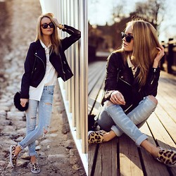 Meryl M - Gina Tricot Black Jacket, H&M Animal Print Slip Ons, H&M White Shirt, Bershka Ripped Jeans - SUNSET COSY. more on blog