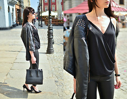 Sylwia K. - Romwe Top, Choies Leather Pants, No Name Jacket - All black