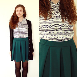 Sabrina X - H&M Cardigan, H&M Sleeveless Blouse, Urban Outfitters Skirt - Walk on by
