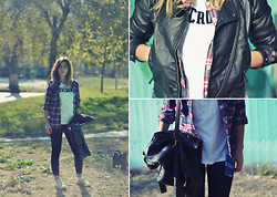 40 22 City lights - Zara Black Leggings, Bershka Black Leather Jacket, Abercrombie White T Shirt, Converse Grey All Star, H&M Plaid Shirt - Kare karo