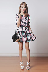 Tricia Gosingtian - Theoryofseven Castile Black Floral Set, Marc By Jacobs Bag, Emoda Heels - 042914