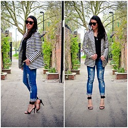 Bridg @ CalibratedChronicles.blogspot.com - And Other Stories Striped Blazer, Zara Ripped Jeans, Mango Heels - Boss