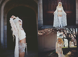 Rachel Lynch - Nasty Gal Lace Cape, Nasty Gal White Leather Crop, Bad Vibes Champagne Supernova Shorts, Jeffrey Campbell White Thigh High Boots - From eden