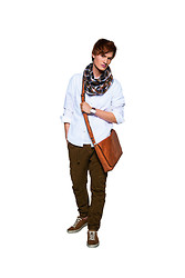 Dominik - Ecco Brown Sneakers, New Yorker Brown Loose Trousers, Ochnik Leather Bag, H&M White Shirt, Reserved Scarf - Shopping time