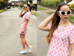 Jen Lou M - Asos Sunglasses, So In Fashion Polka Dot Shift Dress, River Island Flatform Slip Ons, Claire's Statement Necklace - So In Fashion