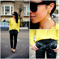 Bridg @ CalibratedChronicles.blogspot.com - Vintage Earrings, Found In Paris, Zara Slouchy Leather Trousers, Zara Yellow Shirt, Céline Audrey Sunglasses, Saint Laurent Arty Ring - Mellow Yellow