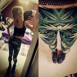 Sammy C - Black Milk Clothing Woah Dude Legging, Cute To The Core Flatform Spike Trainers, Custom Mesh Crop Top, H&M Lace Bandeau - MESH & WEEDS