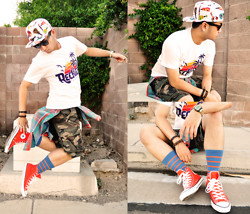 Shawn C. - Young & Reckless Retro Tee, Soxy Striped Socks, Old Navy Camo Shorts - Young & Reckless (IG: @scruz670)