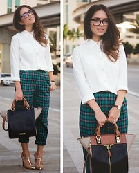 Daniela Ramirez - Shoppiin Green Plaid Pants, Coach Shoes, Danielle Nicole Bag, Nany's Klozet Para Melao White Blouse - City plaid...