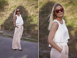 Marie Wolla - Zara Pants, Zara Ruffle Top, Le Specs Sunglasses - These pants were made for walkin'