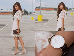 Camille Sioco - Craze Clothing White Crochet Floral Dress, Zu Shoes Yolo Heels, Louis Vuitton Eva Clutc, Daniel Wellington Classic York Watch - Ambition