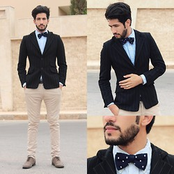 HAMID KHOUYI - Tied Society Navy Polka Dot Silk Knit Bow Tie, Zara Black, Paul Smith Light - I Belong To You