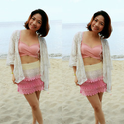 Carol Celespara - Charlie Wrap Around Bandeau, Forever 21 Sheer Lace Kimono Cover Up, Herbench Pink Ombre Tierred Skirt - Love Lace