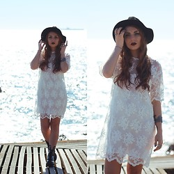 Cátia Gonçalves - Frontrowshop Lace Dress, Dr. Martens Chunky Boots - The sea always filled her with longing