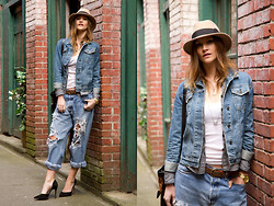 Alison Hutchinson - Holt Renfrew Hat, Topshop Jacket, Denim & Supply Shirt, Levi's® Jeans - Baggy