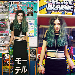 Amber Dennett - Topshop Cropped Tee, Motel Rocks Japanese Skirt, Paul Boutique Green Leopard Bag - Arcade Games