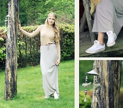 Valerie A - Converse White Allstars, The Sting Maxi Skirt, Zara Shirt - Back From Being Away