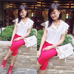 Jeschel Apo - Forever 21 Top And Accessories, Guess? Bag, Aldo Shoes - Red & White