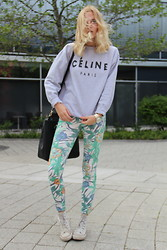 Lotta-Liina Love - Céline Crew Neck, Zara Jungle Print Pants, Mango Leather Tote - Casual Attire One