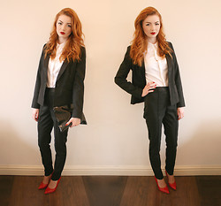 Hannah Louise - Asos Tuxedo, Motel Croc Patent Clutch, Next White Shirt, Lucy Choi Red Pointed Shoes - Tuxedo