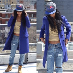 Michelle R - Burberry Coat, Timberland Boots, Guess? Jeans, Nike Tank - North