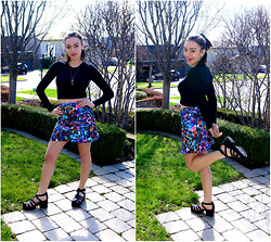Raquel J - Wilfred Black Crop Top, Walter Baker Tropical Print Skirt, Shellys London Chunky Sandals - City Desert