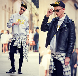 Chaby H. - Chloé Gold Nice Hair Sweater, Jacket Leather Biker, Vintage Checked Shirt, Zara Leggings With Short - 2SWAG4U