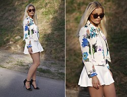 Marie Wolla - Zara Printed Jacket, Gina Tricot Skater Skirt, Zara Heels, Le Specs Sunglasses, Vila Top - Hello, my name is Aquarelle