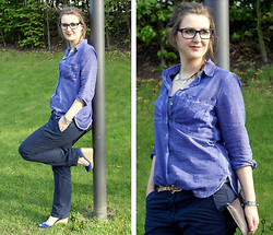 Samira | Baustrahler & Ginger Ale - Fossil Watch, Tommy Hilfiger Shoes, Tom Tailor Chino, Jake*S Blouse, Harly Issy & La Eyeglasses - Blue in the sun