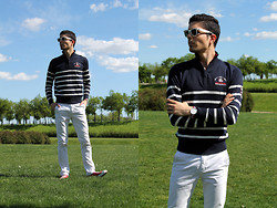 Fran Garde - Ray Ban Sunglasses, Clk Sweater, Daniel Wellington Watch, Pull & Bear Pants, Converse Shoes - Spring stripes